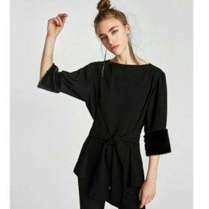 Zara Faux Fur Cuffs Long Sleeve Wrap Sweater Black Size Medium